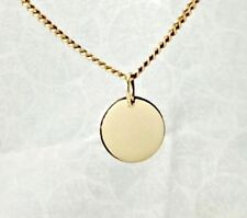 Solid 9ct 9k Yellow Gold 11mm Disc Pendant or Charm Polished Finish Engravable
