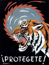 Propaganda cultural Health Safety work Spain tiger Saw póster tipo Print bb2432b