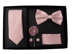 New Men's necktie bowtie hankie cufflinks lapel pin 5 pc Gift Mauve Dusty Pink