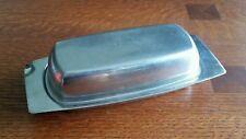 Vintage Lundtofte Denmark Mid Century Modern Butter Dish w/ Lid Stainless Steel