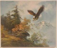 "Vintage Oil Painting on Canvas Bald Eagle Unframed Art (24"" x 20"")"