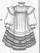 "13-14""ANTIQUE JUMEAU/BRU-GERMAN DOLL FRENCH HAND SEW YOKE DRESS PATTERN CHILD"