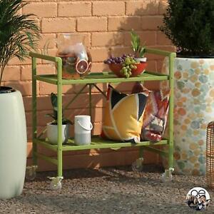 Slatted Folding Serving Cart In/Outdoor Steel Tea Liquor Storage Wheels Trolley