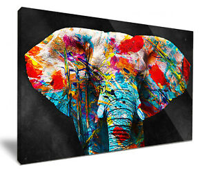 Art Attack Elephant HD Framed Canvas Wall Art Picture Print