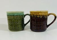 Vintage Retro Ceramic Mug Set made in JAPAN 1970s Coffee Cup Tea Cup Green Brown
