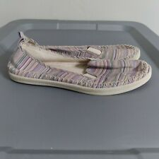 Rocket Dog Women's Size 7.5 Shoes Pinstripe Ivory Slip On Comfort Flat Slippers