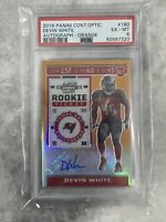 2019 PANINI CONTENDERS OPTIC DEVIN WHITE ROOKIE TICKET Orange /50 Auto PSA