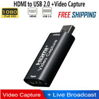 1080P Video Capture Card HDMI USB 2.0 HD for Live Streaming Recorder Grabber