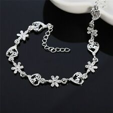 Love Heart and Daisy Bracelet Womens Gift Fashion Ladies 925 Silver Jewellery