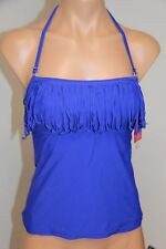 NWT Hula Honey Swimsuit Bikini Tankini Top Sz S BLU Bandeau Fringe