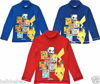 OFFICIAL POKEMON TURTLE NECKED LONG SLEEVE JERSEY TOP 3 4 6 8 YEARS (LTD AVAIL.)