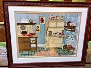 One of a Kind SIGNED & NUMBERED Antique Primitive Cupboard Framed Art 12/15