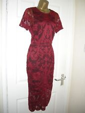 10 ASOS DEEP RED LACE MIDI PENCIL DRESS RETRO 70'S 80'S PARTY SUMMER WEDDING
