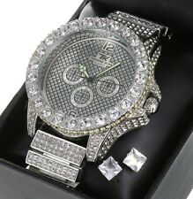 Mens 14K White Gold Plated Fully Iced Out Techno King Luxury Watch +Stud Earring