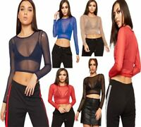 Womens Sheer Mesh Crop Top Ladies Long Sleeve Crew Neck Plain Fancy Party Top