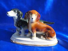 Antique porcelain Germany 2 Doxie Dachshund dog Green Mark gold trim