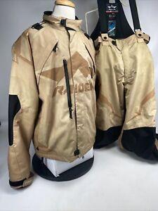 Icon Raiden DKR Tan XL Jacket W/ Liner and XXL Bib set D30 Waterproof