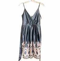BCBGMAXAZRIA Size 2 Spaghetti Strap Silk Blend Lined Cocktail Dress Grey Pink
