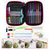 100Pcs Metal Crochet Hooks Set Knitting Needle Kit Zipper Organizer Case DIY