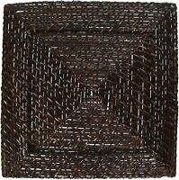 "American Atelier Rattan Square Rattan 13"" Charger Plate Event Wedding, Dark"