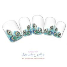 Nail Art Water Decals Peacock Feather French Edge Transfer Stickers Manicure
