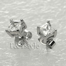 T&T 4mm Top Quality 925 Sterling Silver Rhodium CZ Square Stud Earrings