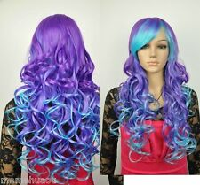 purple and blue mix long curly cosplay wig
