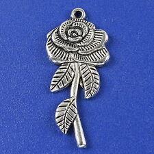 8pcs dark silver tone rose charms h3132