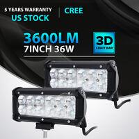 "2x 7INCH 36W CREE LED WORK LIGHT BAR FLOOD OFFROAD ATV FOG TRUCK LAMP 4WD 12V 6"""