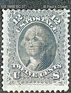 """US 1868 SC 97 12¢ WASHINGTON BLACK """"F"""" GRILL USED NO GUM SCV $250 FINE/VERY FINE"""