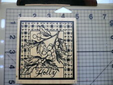 "PSX Wood Mounted Rubber Stamp Christmas Icons ""Holly & Berries & Tartan"""