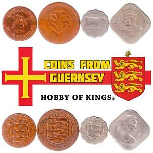 SET OF 4 COINS FROM GUERNSEY: 4, 8 DOUBLES, 3 PENCE, 10 SHILLINGS. 1956-1966