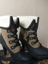 New Ladies / Woman Golddigga high heel lace up ankle boots UK 7  Black & Kaki