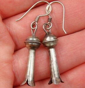 SQUASH BLOSSOM Vintage Navajo EARRINGS Old Pawn Classic STERLING Drop DANGLE