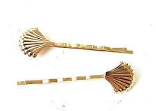 2 x en métal doré coquillage cheveux grips bobby pins diapositives sirène ariel boho 1699