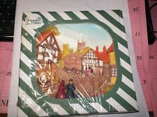 """12# Legend Products England 3D Chalkware 8"""" Wall Plate Victorian Town Scene"""