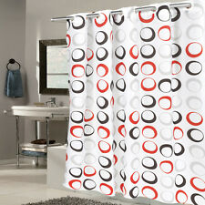 """EZ On Fabric Shower Curtain Circles With Built in Hooks 70""""x75""""  Black/Grey/Red"""