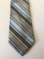 Ted Baker London 100% Silk Neck Tie Blue Gray Black Stripes