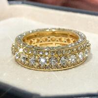 Fashion Ring 18K Yellow Gold Filled Jewelry Men's Women Wedding White Sapphire