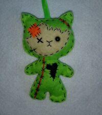 Handmade Halloween decoration , spooky zombie cat  felt hanging ornament