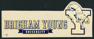 Brigham Young University Original 1940's Decal VTG NCAA Cougars Mascot w/Banner