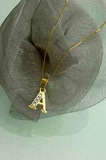 SCHMUCKSET 2tlg.  750 GOLD  HALSKETTE 50 cm +  ANHÄNGER  BUCHSTABE  *A*  NEU
