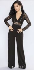 Fashion Nova NWT Black Hanna Lace Sleeve Jumpsuit Romper Size XL (z32)