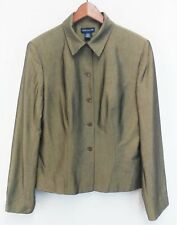 Ann Taylor Women Blazer, Size 14, brown, bronze, rayon, silk
