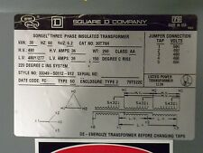 SQUARE D 30 KVA DRIVE ISOLATION 480 DELTA/480Y-277 TRANSFORMER CAT# 30T76H