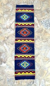 """Zapotec Oaxacan 10""""x40"""" Hand Woven Geometric Pattern Home Runner Tapestry Rug"""
