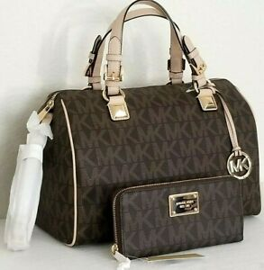 🌞MICHAEL KORS GRAYSON BROWN SIGNATURE MONOGRAM LARGE SATCHEL +/OR WALLET🌺NWT!
