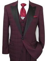 Men's Tuxedo Suit Light Wool Statement Vested Formal Wedding Alberto Wine