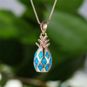 Fun New Rose Gold Plated Faux Blue Fire Opal 3D Pineapple Fruit Pendant Necklace