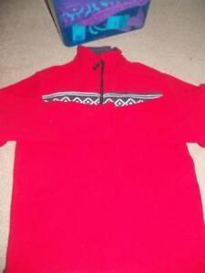 NWT sz 10/12 red fleece 1/4 zip sweatshirt w/ fair isle band bt-2